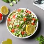 greek farro salad with fresh herbs