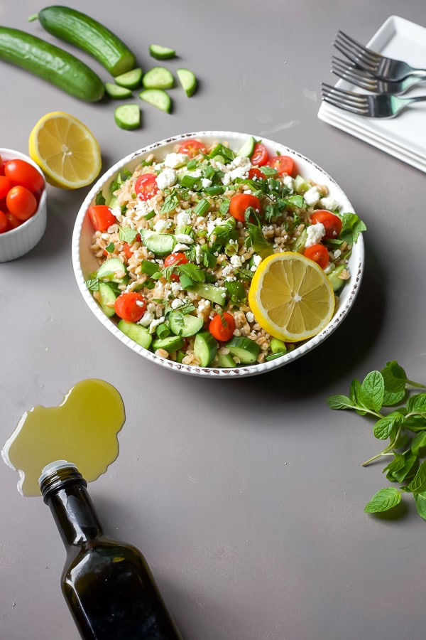 A big, hearty bowl of Greek Farro Salad with Fresh Herbs - the perfect mediterranean lunch