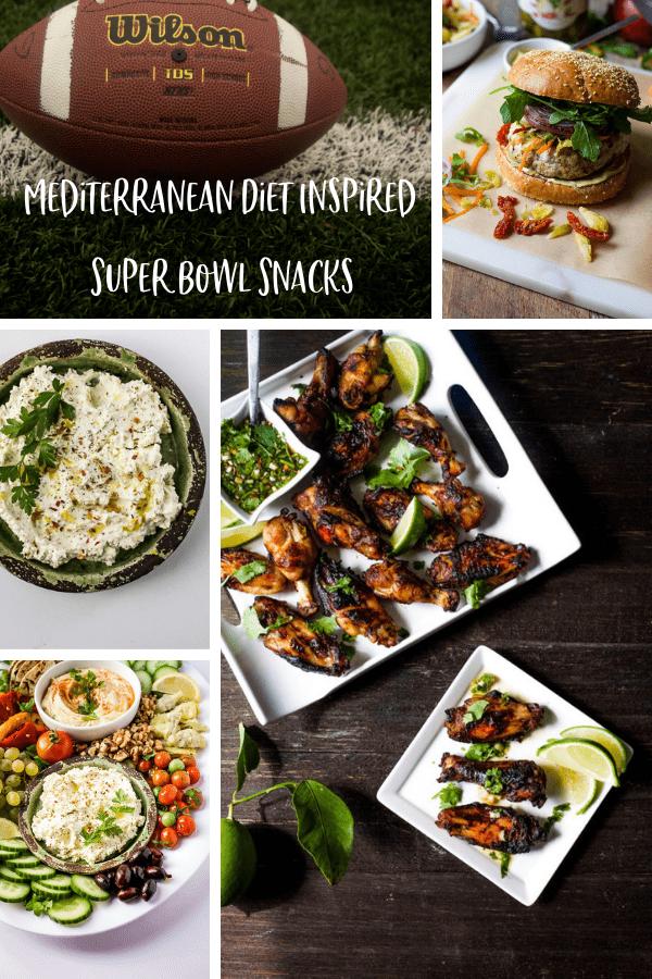 mediterranean diet super bowl snacks and recipe ideas