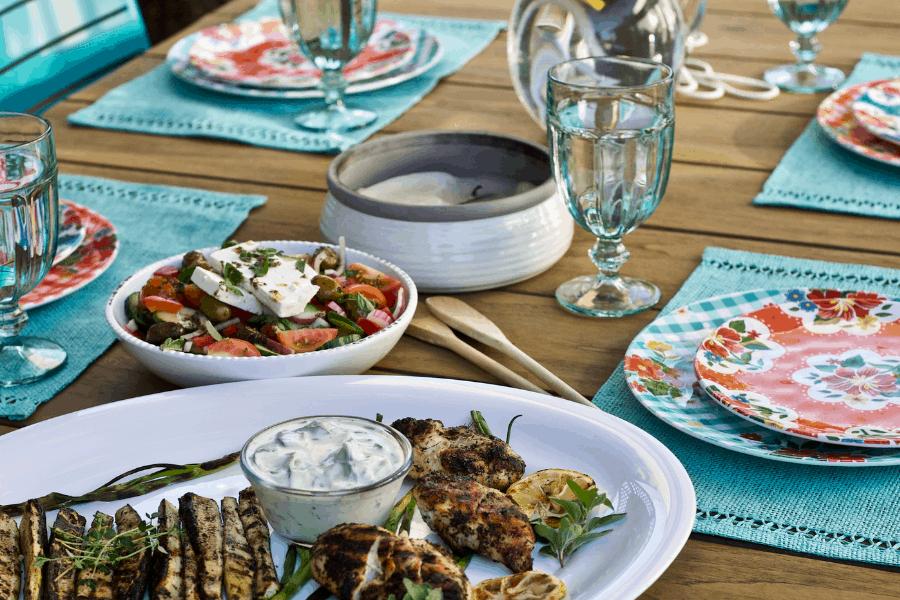 mediterranean diet inspired outdoor dinner