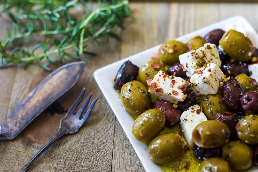 marinated olives with feta cheese