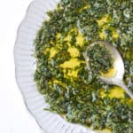 chermoula moroccan herb sauce in bowl with spoon